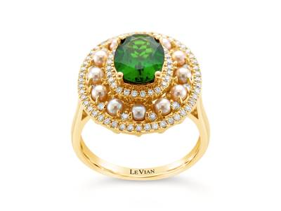 14K Honey Gold™ Pistachio Diopside® 1  5/8 cts., Strawberry Pearls®  cts. Ring with Vanilla Diamonds® 3/8 cts. | SVDM 31