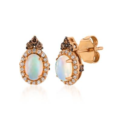 14K Strawberry Gold® Neopolitan Opal™ 1/2 cts. Earrings with Chocolate Diamonds® 1/8 cts., Vanilla Diamonds® 1/8 cts. | SVDN 25