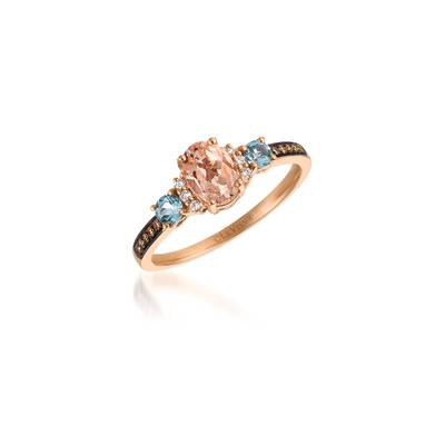 14K Strawberry Gold® Peach Morganite™ 1/2 cts., Sea Blue Aquamarine® 1/5 cts. Ring with Vanilla Diamonds® 1/20 cts., Chocolate Diamonds® 1/20 cts. | SVDW 1