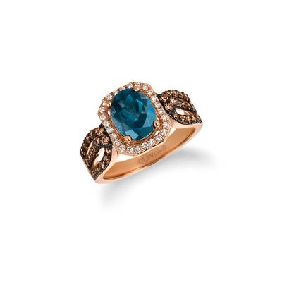 14K Strawberry Gold® Deep Sea Blue Topaz™ 1  7/8 cts. Ring with Chocolate Diamonds® 1/2 cts., Vanilla Diamonds® 1/6 cts. | SVDW 35