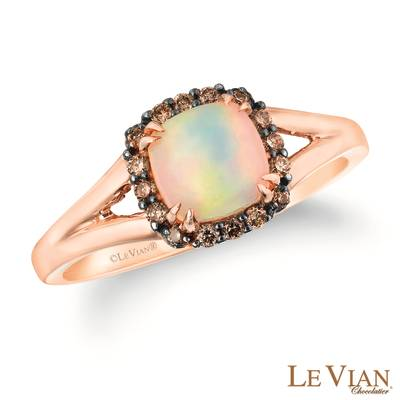 14K Strawberry Gold® Neopolitan Opal™ 1/3 cts. Ring with Chocolate Diamonds® 1/8 cts. | SVDW 45