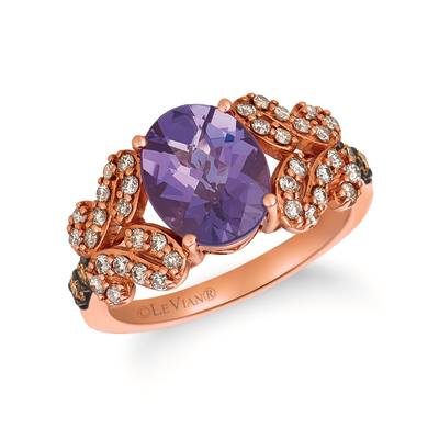 14K Strawberry Gold® Grape Amethyst™ 2 cts. Ring with Chocolate Diamonds® 1/10 cts., Nude Diamonds™ 1/3 cts. | SVDW 57