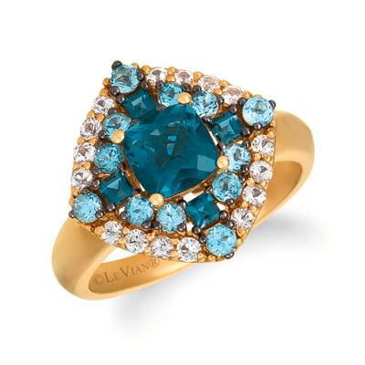 14K Honey Gold™ Deep Sea Blue Topaz™ 1  1/4 cts., Blue Topaz 5/8 cts., White Sapphire 1/3 cts. Ring | SVDW 69
