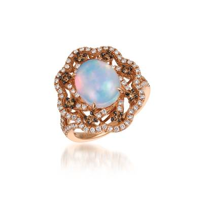 14K Strawberry Gold® Neopolitan Opal™ 1  5/8 cts. Ring with Chocolate Diamonds® 1/5 cts., Vanilla Diamonds® 5/8 cts. | SVDY 6