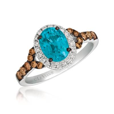 14K Vanilla Gold® Blueberry Zircon™ 1  1/3 cts. Ring with Chocolate Diamonds® 1/3 cts., Vanilla Diamonds® 1/8 cts. | SVEH 112