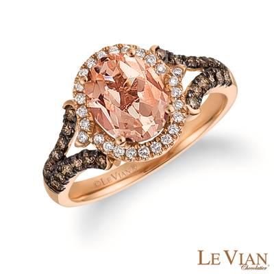 14K Strawberry Gold® Peach Morganite™ 1  1/3 cts. Ring with Chocolate Diamonds® 1/3 cts., Vanilla Diamonds® 1/8 cts. | SVEH 19