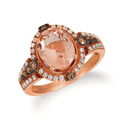 14K Strawberry Gold® Peach Morganite™ 1  7/8 cts. Ring with Chocolate Diamonds® 1/8 cts., Vanilla Diamonds® 1/4 cts. | SVEH 23
