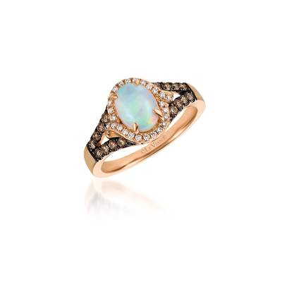 14K Strawberry Gold® Neopolitan Opal™ 5/8 cts. Ring with Chocolate Diamonds® 1/4 cts., Vanilla Diamonds® 1/10 cts. | SVEH 69