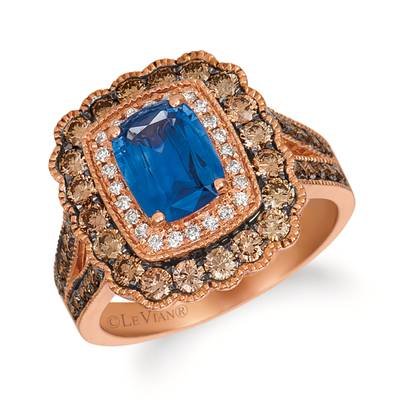14K Strawberry Gold® Cornflower Ceylon Sapphire™ 1  1/2 cts. Ring with Chocolate Diamonds® 7/8 cts., Vanilla Diamonds® 1/8 cts. | SVEJ 9CY-070