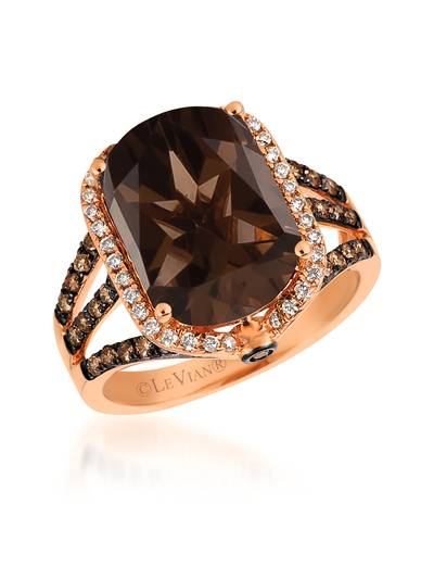 14K Strawberry Gold® Chocolate Quartz® 5  1/3 cts. Ring with Chocolate Diamonds® 1/2 cts., Vanilla Diamonds® 1/5 cts. | SVEO 20