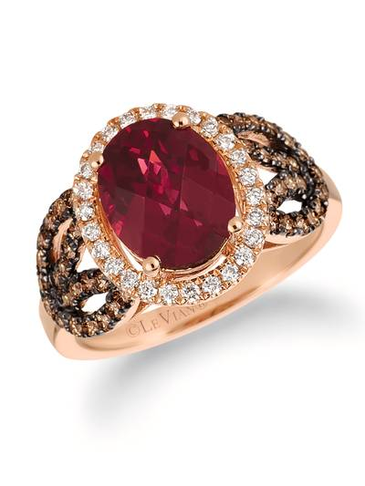 14K Strawberry Gold® Raspberry Rhodolite® 2  7/8 cts. Ring with Chocolate Diamonds® 1/2 cts., Vanilla Diamonds® 1/5 cts. | SVEP 32
