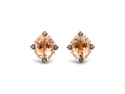14K Strawberry Gold® Peach Morganite™ 1  7/8 cts. Earrings with Chocolate Diamonds® 1/6 cts., Vanilla Diamonds® 1/5 cts. | SVEZ 112