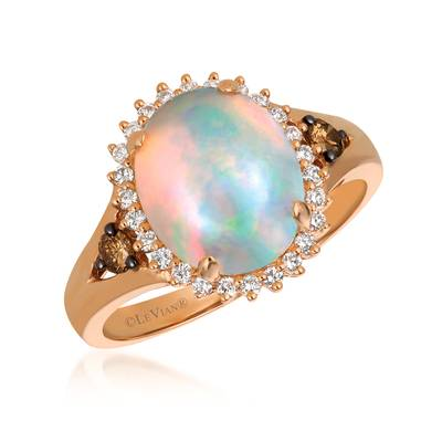 14K Strawberry Gold® Neopolitan Opal™ 1  5/8 cts. Ring with Chocolate Diamonds® 1/8 cts., Vanilla Diamonds® 1/5 cts. | SVEZ 33