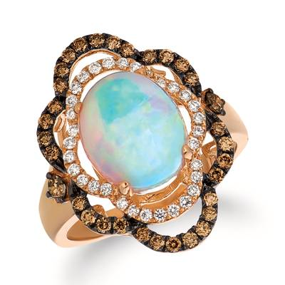 14K Strawberry Gold® Neopolitan Opal™ 1  5/8 cts. Ring with Chocolate Diamonds® 3/8 cts., Vanilla Diamonds® 1/6 cts. | SVEZ 38