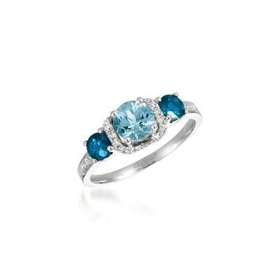 14K Vanilla Gold® Sea Blue Aquamarine® 5/8 cts., Blueberry Sapphire™ 1/2 cts. Ring with Vanilla Diamonds® 1/6 cts. | SVFF 31