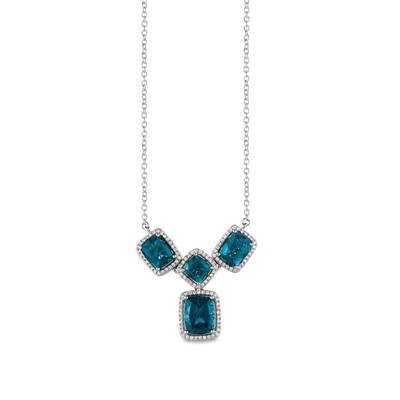 14K Vanilla Gold® Deep Sea Blue Topaz™ 6  7/8 cts. Necklace with Vanilla Diamonds® 3/8 cts. | SVFF 39