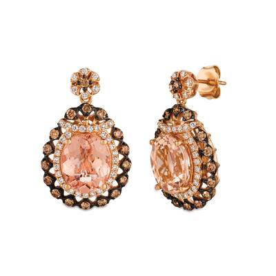 14K Strawberry Gold® Peach Morganite™ 4  7/8 cts. Earrings with Chocolate Diamonds® 3/4 cts., Vanilla Diamonds® 1/2 cts. | SVFF 58