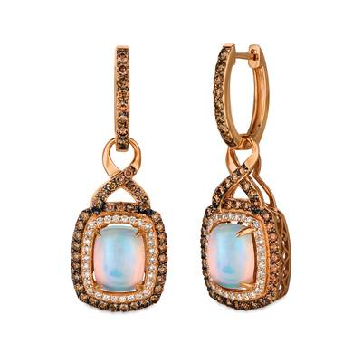 14K Strawberry Gold® Neopolitan Opal™ 1  3/4 cts. Earrings with Chocolate Diamonds® 1 cts., Vanilla Diamonds® 1/4 cts. | SVFF 76