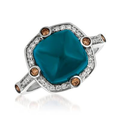 14K Vanilla Gold® Deep Sea Blue Topaz™ 5  1/5 cts. Ring with Chocolate Diamonds® 1/10 cts., Vanilla Diamonds® 1/8 cts. | SVFG 119