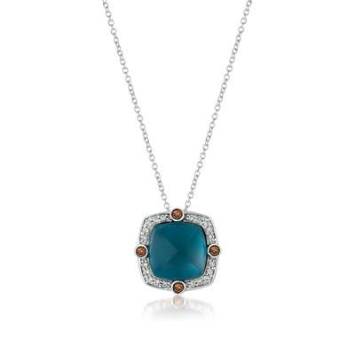 14K Vanilla Gold® Deep Sea Blue Topaz™ 6  7/8 cts. Pendant with Chocolate Diamonds® 1/10 cts., Vanilla Diamonds® 1/6 cts. | SVFG 120