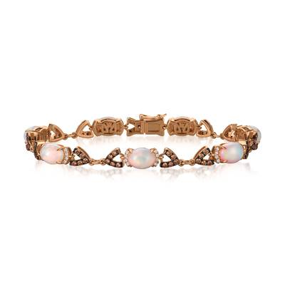 14K Strawberry Gold® Neopolitan Opal™ 4  1/5 cts. Bracelet with Chocolate Diamonds® 1  1/5 cts., Vanilla Diamonds® 1/3 cts. | SVFQ 1