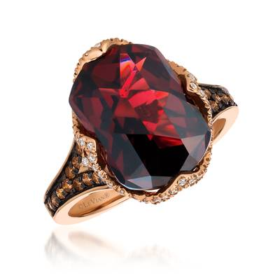 14K Strawberry Gold® Pomegranate Garnet™ 6  7/8 cts. Ring with Chocolate Diamonds® 1/4 cts., Vanilla Diamonds® 1/5 cts. | SVFQ 38