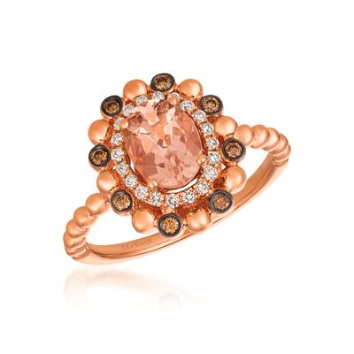 14K Strawberry Gold® Peach Morganite™ 7/8 cts. Ring with Chocolate Diamonds® 1/10 cts., Vanilla Diamonds® 1/8 cts. | SVFQ 48