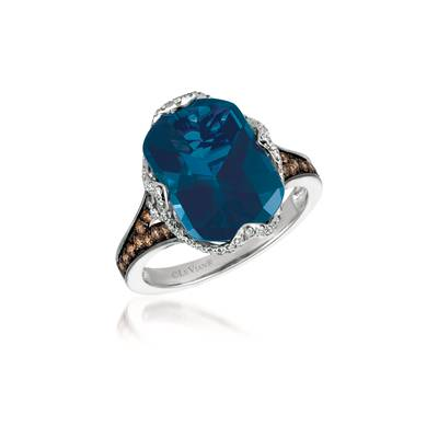 14K Vanilla Gold® Deep Sea Blue Topaz™ 6  7/8 cts. Ring with Chocolate Diamonds® 1/4 cts., Vanilla Diamonds® 1/5 cts. | SVFQ 7
