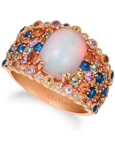 14K Strawberry Gold® Neopolitan Opal™ 1  5/8 cts., Orange Sapphire 1/2 cts., Blueberry Sapphire™ 1/3 cts., Bubble Gum Pink Sapphire™ 1/5 cts., Green Sapphire 1/3 cts., Yellow Sapphire 1/6 cts. Ring with Vanilla Diamonds® 1/20 cts. | SVFQ 78