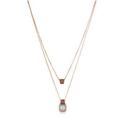 14K Strawberry Gold® Neopolitan Opal™ 1  5/8 cts., Bubble Gum Pink Sapphire™ 1/15 cts. Necklace with Chocolate Diamonds® 1/3 cts., Vanilla Diamonds® 1/10 cts. | SVFQ 9