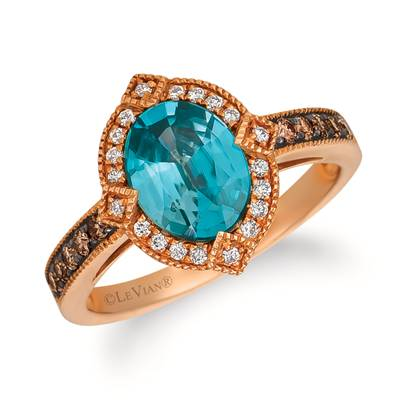 14K Strawberry Gold® Blueberry Zircon™ 2  1/5 cts. Ring with Chocolate Diamonds® 1/5 cts., Vanilla Diamonds® 1/10 cts. | SVFS 56
