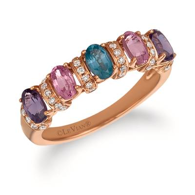 14K Strawberry Gold® MultI-Color Spinel 1  1/3 cts. Ring with Vanilla Diamonds® 1/6 cts. | SVFS 79