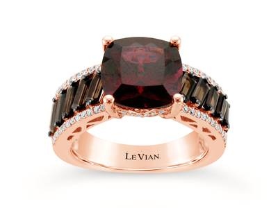 14K Strawberry Gold® Raspberry Rhodolite® 4  5/8 cts., Chocolate Quartz® 1 cts. Ring with Vanilla Diamonds® 1/5 cts. | SVFT 15
