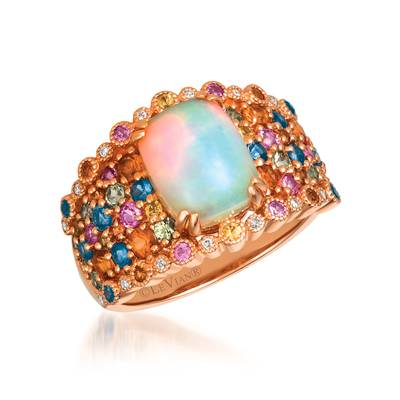 14K Strawberry Gold® Neopolitan Opal™ 1  5/8 cts., Orange Sapphire 1/2 cts., Blueberry Sapphire™ 1/3 cts., Bubble Gum Pink Sapphire™ 1/15 cts., Green Sapphire 1/3 cts., Yellow Sapphire 1/6 cts. Ring | SVGG 36