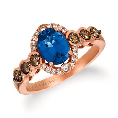 14K Strawberry Gold® Cornflower Ceylon Sapphire™ 1  3/8 cts. Ring with Chocolate Diamonds® 1/3 cts., Vanilla Diamonds® 5/8 cts. | SVGH 47CY-07