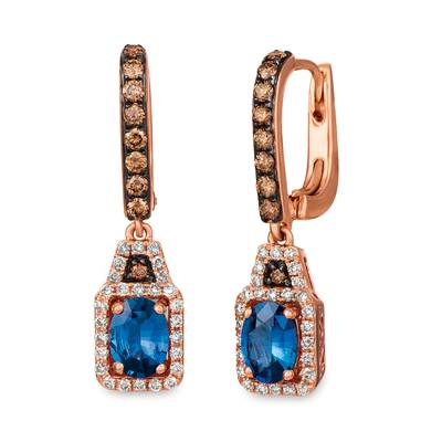 14K Strawberry Gold® Cornflower Ceylon Sapphire™ 1  1/2 cts. Earrings with Chocolate Diamonds® 3/8 cts., Vanilla Diamonds® 1/3 cts. | SVGJ 3CY