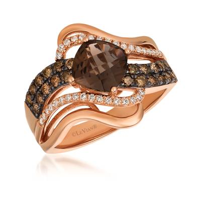 14K Strawberry Gold® Chocolate Quartz® 1  1/4 cts. Ring with Chocolate Diamonds® 3/8 cts., Vanilla Diamonds® 1/6 cts. | SVGJ 42