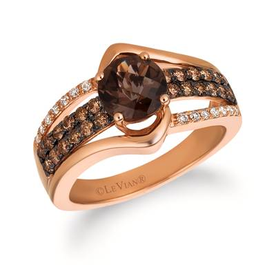 14K Strawberry Gold® Chocolate Quartz® 1 cts. Ring with Chocolate Diamonds® 3/8 cts., Vanilla Diamonds® 1/10 cts. | SVGJ 44