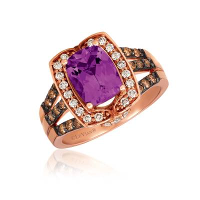 14K Strawberry Gold® Grape Amethyst™ 1  3/4 cts. Ring with Chocolate Diamonds® 1/3 cts., Nude Diamonds 1/4 cts. | SVGP 43