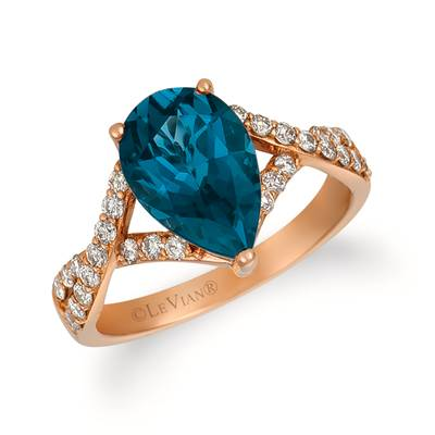 14K Strawberry Gold® Deep Sea Blue Topaz™ 2  5/8 cts. Ring with Nude Diamonds™ 3/8 cts. | SVGQ 11