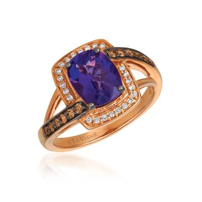 14K Strawberry Gold® Grape Amethyst™ 1  1/2 cts. Ring with Chocolate Diamonds® 1/5 cts., Vanilla Diamonds® 1/10 cts. | SVGU 2AM