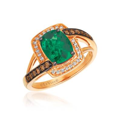14K Strawberry Gold® New Emerald 1  5/8 cts. Ring with Chocolate Diamonds® 1/5 cts., Vanilla Diamonds® 1/10 cts. | SVGU 2NE
