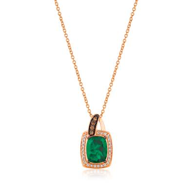 14K Strawberry Gold® New Emerald 1  5/8 cts. Pendant with Chocolate Diamonds® 1/10 cts., Vanilla Diamonds® 1/10 cts. | SVGU 3NE