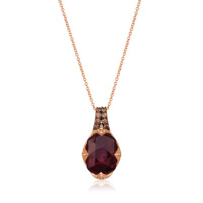 14K Strawberry Gold® Pomegranate Garnet™ 6  7/8 cts. Pendant with Chocolate Diamonds® 1/5 cts., Vanilla Diamonds® 1/5 cts. | SVGV 15