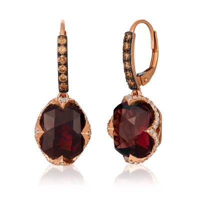 14K Strawberry Gold® Pomegranate Garnet™ 9  5/8 cts. Earrings with Chocolate Diamonds® 1/3 cts., Vanilla Diamonds® 3/8 cts. | SVGV 16