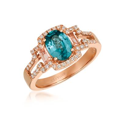 14K Strawberry Gold® Blueberry Zircon™ 1  1/2 cts., Peach Morganite™ 1/5 cts. Ring with Vanilla Diamonds® 1/4 cts. | SVGV 26