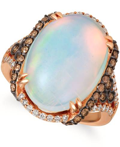 14K Strawberry Gold® Neopolitan Opal™ 6  1/2 cts. Ring with Chocolate Diamonds® 1/2 cts., Vanilla Diamonds® 1/4 cts. | SVGV 54