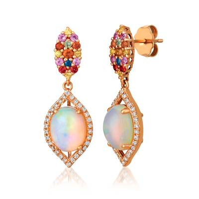 14K Strawberry Gold® Neopolitan Opal™ 1  5/8 cts., Orange Sapphire 1/5 cts., Yellow Sapphire 1/8 cts., Blueberry Sapphire™  cts., Bubble Gum Pink Sapphire™ 1/8 cts., Green Sapphire  cts. Earrings with Vanilla Diamonds® 1/4 cts. | SVGV 73