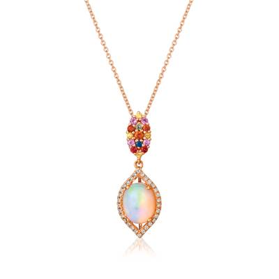 14K Strawberry Gold® Neopolitan Opal™ 1  1/5 cts., Orange Sapphire 1/10 cts., Yellow Sapphire 1/20 cts., Blueberry Sapphire™  cts., Bubble Gum Pink Sapphire™ 1/20 cts., Green Sapphire  cts. Pendant with Vanilla Diamonds® 1/8 cts. | SVGV 96
