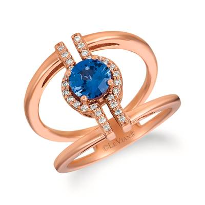 14K Strawberry Gold® Cornflower Ceylon Sapphire™ 1 cts. Ring with Vanilla Diamonds® 1/8 cts. | SVGW 1CY-070